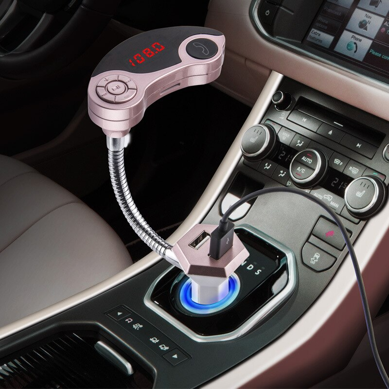 Kit inalámbrico con Bluetooth para coche + TRANSMISOR FM + reproductor de MP3 compatible con tarjeta SD USB + conector de línea de 3,5mm + cargador de coche USB + pantalla led