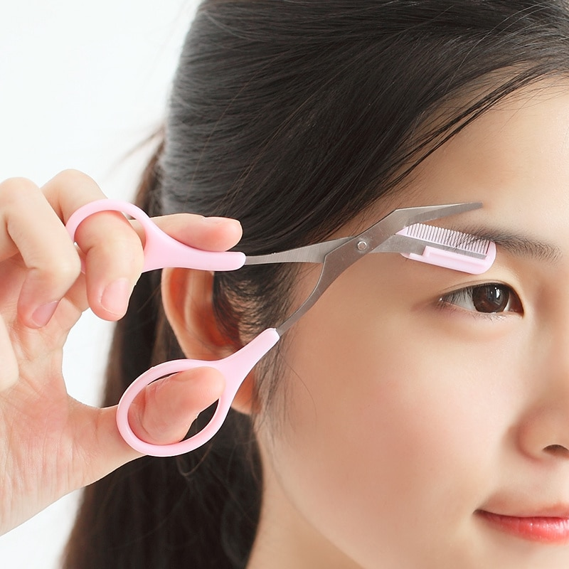 1 sztuk! Tanie różowe nożyczki do przycinania rzęs z grzebieniem kształtującym brwi, kobiety mężczyźni pielęgnacja kształtowanie usuwanie włosów Grooming klipy