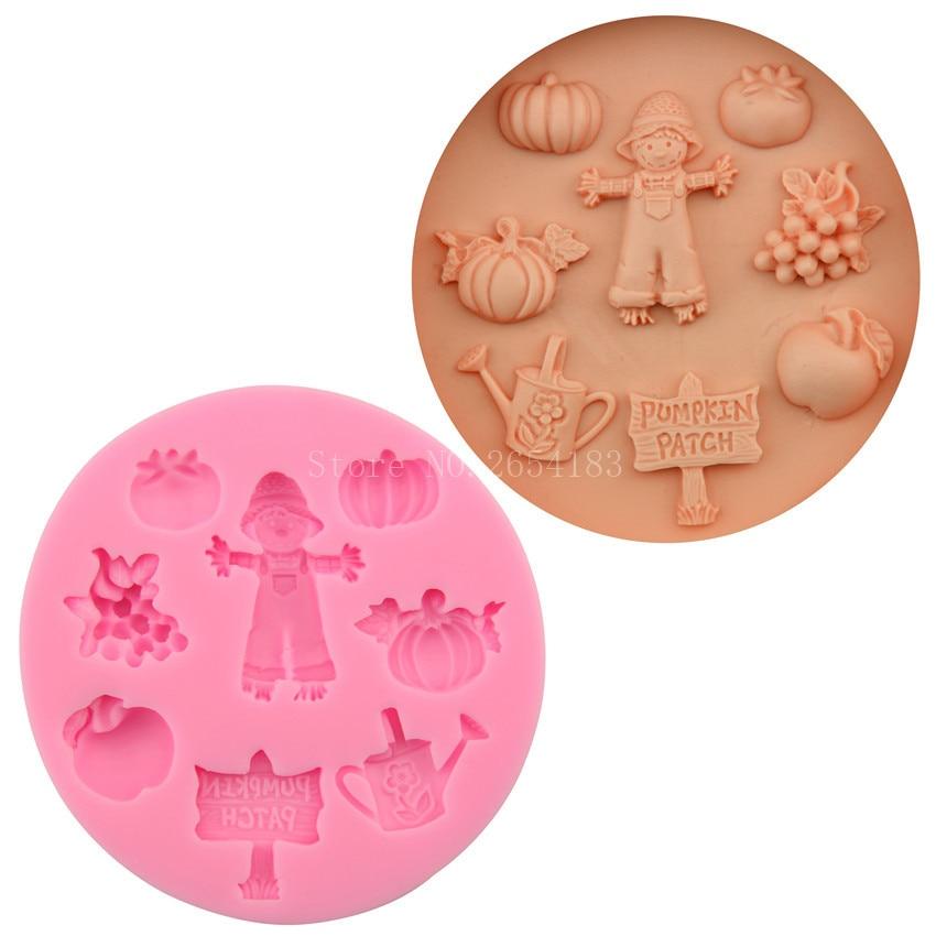 Scarecrow umpkin parche de silicona Fondant jabón 3D molde para pasteles y magdalenas gelatina caramelo Chocolate decoración herramienta moldes FQ2199