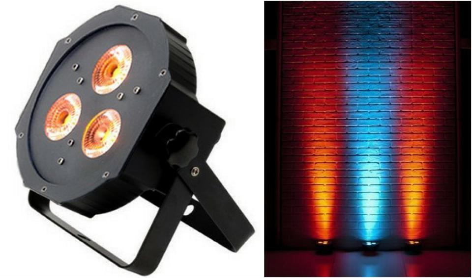20 unids/lote... ADJ led par plana 3x3W RGB 3in1 IEC slim par 38 luz disco dj club de noche dj americana ktv etapa Partido de boda