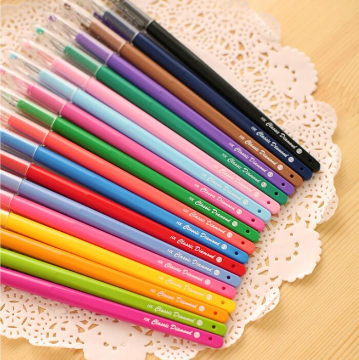 1 Piece Rhinestone Diamond Kawaii School Supply Office Stationery text marker Gel Pen Cute Gift sweet Handle Colorful Colored