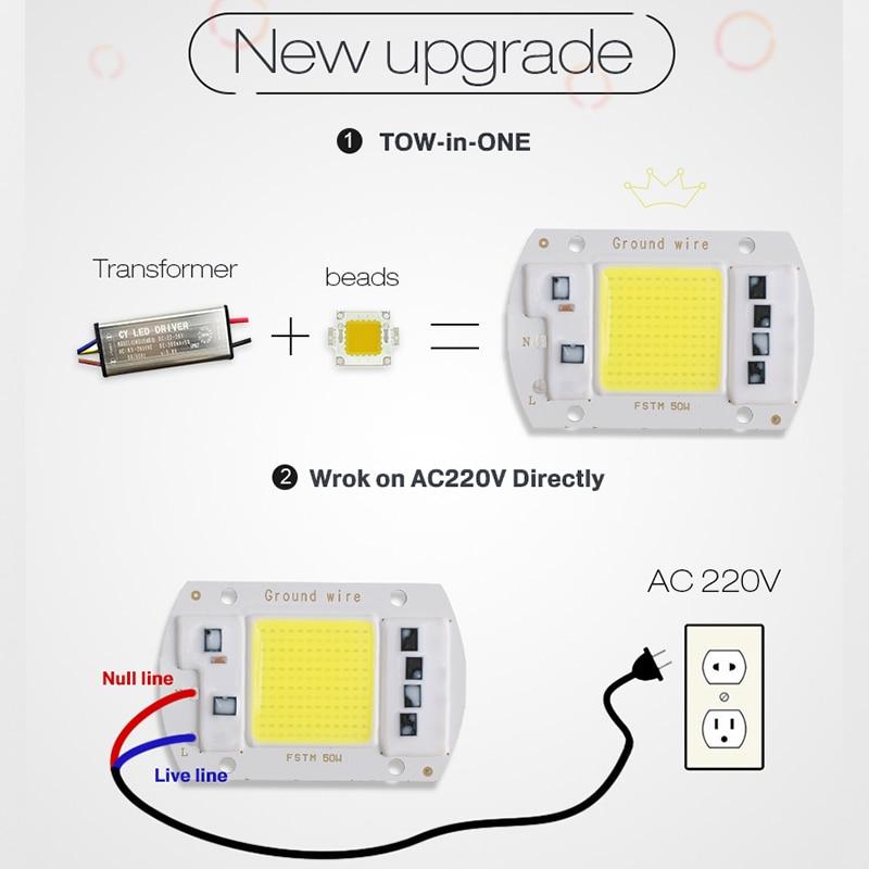 LED-Chip 220V COB 50W 30W 20W 12W 10W 7W 5W 3W Smart IC Keine Notwendigkeit Fahrer Lampe Lampe Für DIY Flutlicht Scheinwerfer