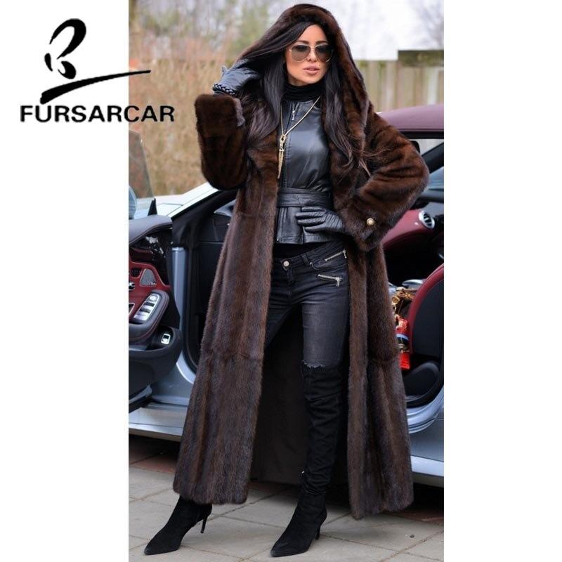 FURSARCAR 2021 جديد فاخر حقيقي فرو منك معاطف 120 سنتيمتر سترة طويلة مع كبير الفراء هود للنساء كامل الجلد معطف فرو منك الإناث