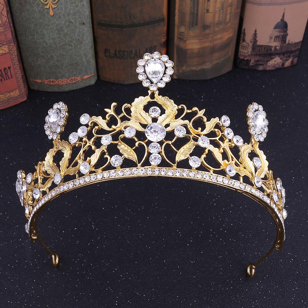Joyería nupcial de moda para el cabello corona de boda oro/plata hoja...