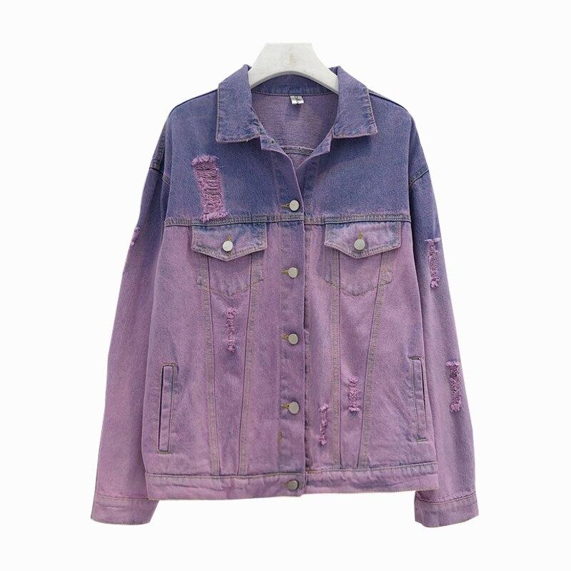 Gradient Denim jackets & coats Rips Detail Boyfriend Denim sweatshirt Lapel Single Breasted Casual Fall Jacket Plus Size Coat