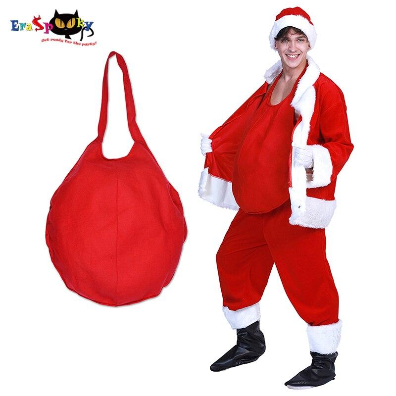 Erapooky rojo para hombre Santa Claus vientre disfraz de Navidad para Cosplay adulto olla vientre padre Navidad accesorios de fiesta de Carnaval