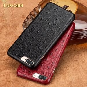 LANGSIDI phone case ostrich grain half-wrapped phone case For iPhone 7 Plus SE 2020 phone case full handmade custom processing