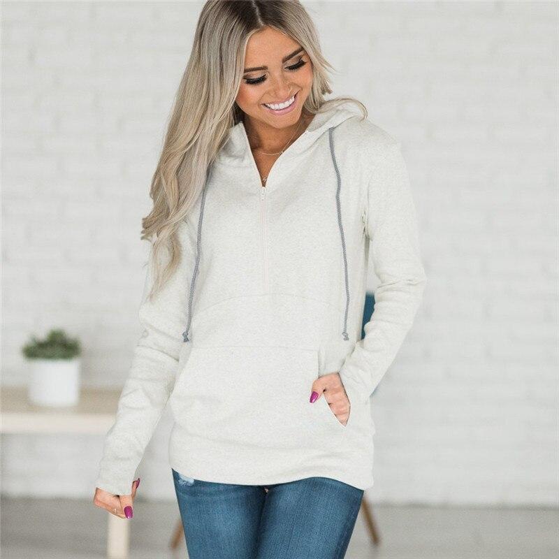 Женские толстовки с капюшоном, Осенние однотонные модные толстовки с капюшоном размера плюс, Пуловеры на молнии с длинными рукавами, джемпе...