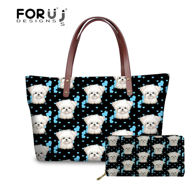 FORUDESIGNS, bolso de mano para mujer con estampado Floral maltés, bonito bolso de hombro para perro, moderno bolso de mano para mujer de piel sintética, bolso de mano de diseñador para mujer