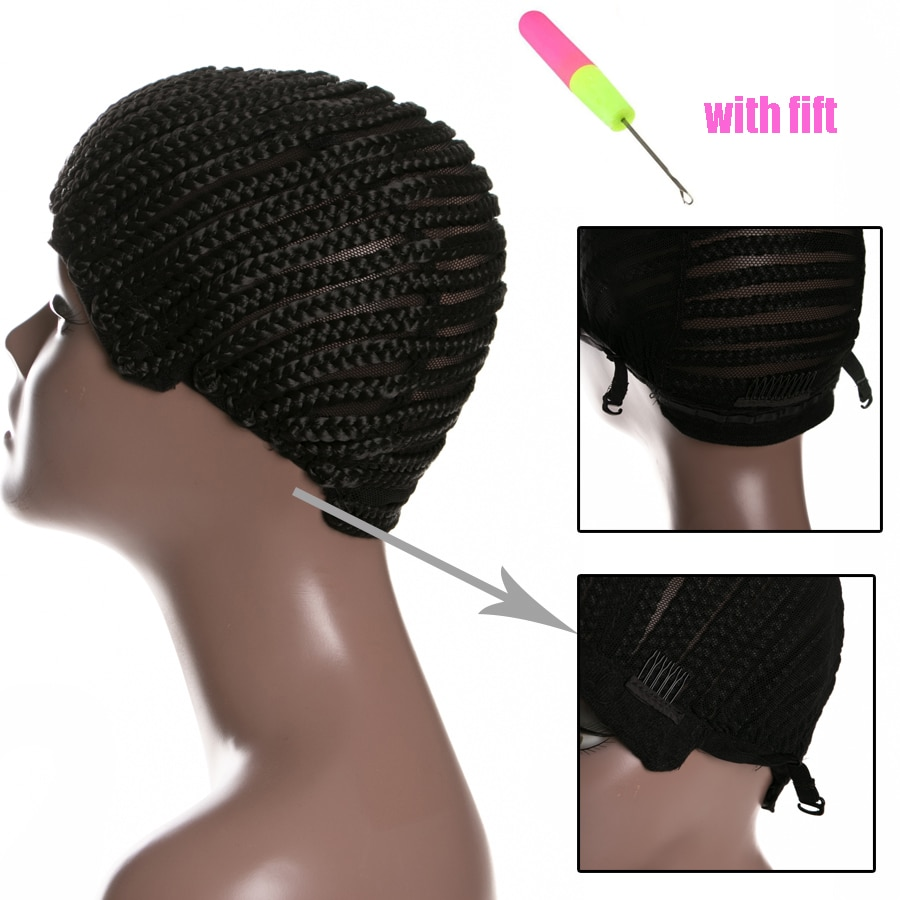 1 Piece Women Hairnets Easycap Cornrow Wig Caps For Making Wigs With Adjustable Strap Braided Products synthetic
