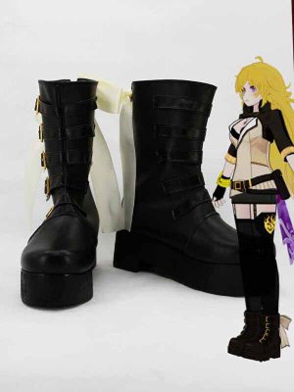 RWBY 2 الأصفر مقطورة يانغ شياو طويل أسود تأثيري أحذية أحذية أنيمي تأثيري أحذية الحفلات مخصص أحذية النساء