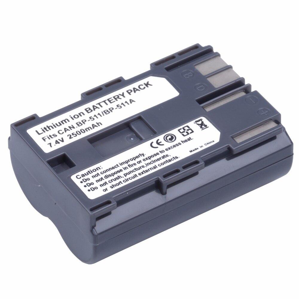 Baterias recarregáveis da bateria de 2500 mah BP-511 bp511a bp511 para canon mvs 100i 150i 2i 1i zr20 25mc 30mc 50mc g1 g2 g3 câmera