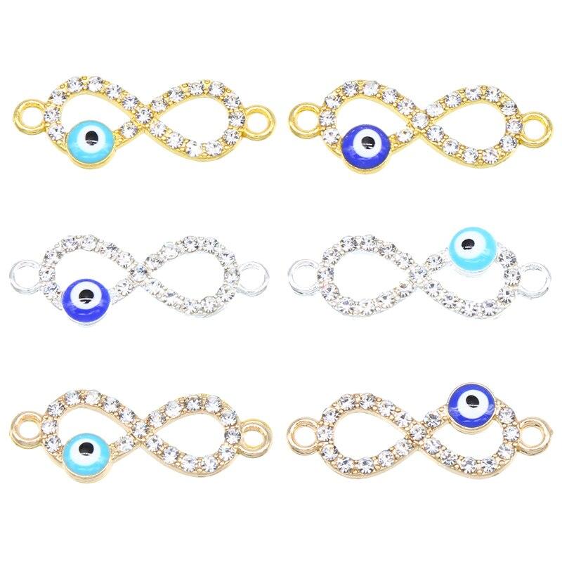 6 pçs por atacado prata chapeado esmalte joaninha conectores de cristal infinito para fazer jóias pulseira acessórios diy artesanato