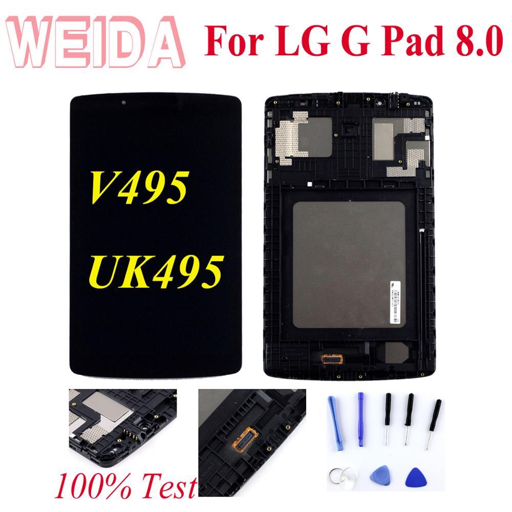 "WEIDA LCD Replacement 8 ""para LG G Pad 8,0 V495 pantalla LCD de montaje de pantalla táctil marco 800*1280 UK495 V496 LD080WX2(SM)(C1) EE. UU."