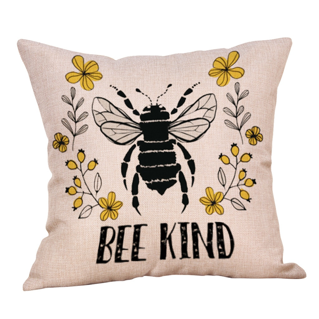 1 funda de almohada de abeja funda de cojín de mezcla de lino fundas de almohada decorativas cojín de sofá funda de Cojín cuadrado 45cm * 45 527 cm