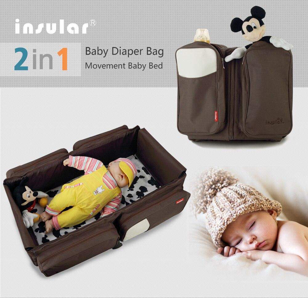 Cama de bebé portátil, cuna, cama plegable para exteriores, bolsa de pañales para bebés, bolsa de seguridad infantil, cuna, bolsa de mamá de seguridad