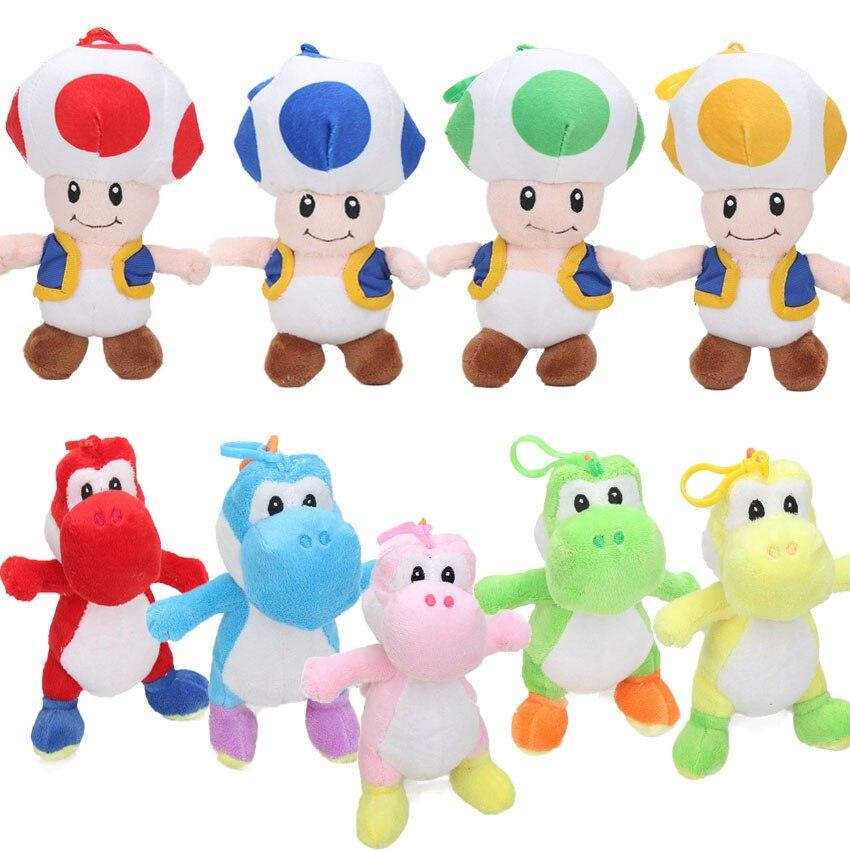 9 unids/lote 18cm Super Mario Bros Luigi Yoshi suave juguetes de peluche con llavero figura de cosplay corriendo Yoshi colgante llavero Animal de juguete muñecas