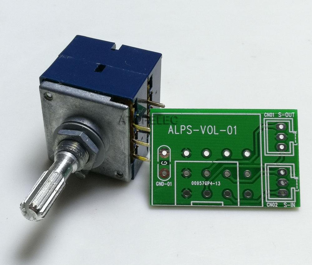 1pc japão alpes rk27 volume log potenciômetro estéreo 2-gang duplo 50 k/100 k/250 k serrilhado eixo + pcb