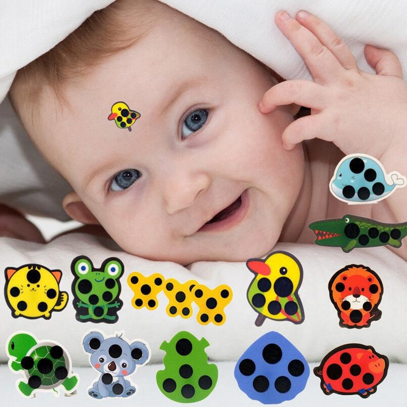 5pcs Baby Cute Cartoon Animal Sticker Forehead Head Strip Body Fever Thermometer Children Safety Bab