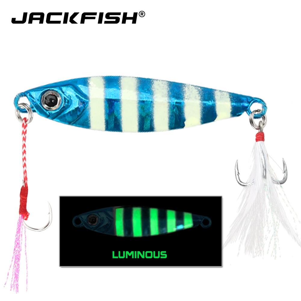 JACKFISH 20G/6CM ojos 3D cuerpo swimbait luminoso Metal Jig señuelo cuchillo paillette Artificial cebo duro mar cuerda pesca señuelo