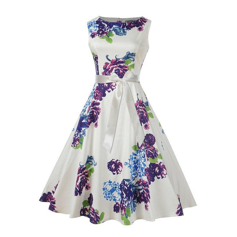 Vestido de verano Vintage con estampado Floral blanco para mujer, Túnica Rockabilly 2018 sin mangas con cinturón de los años 50, Vestidos de fiesta elegantes, Vestidos