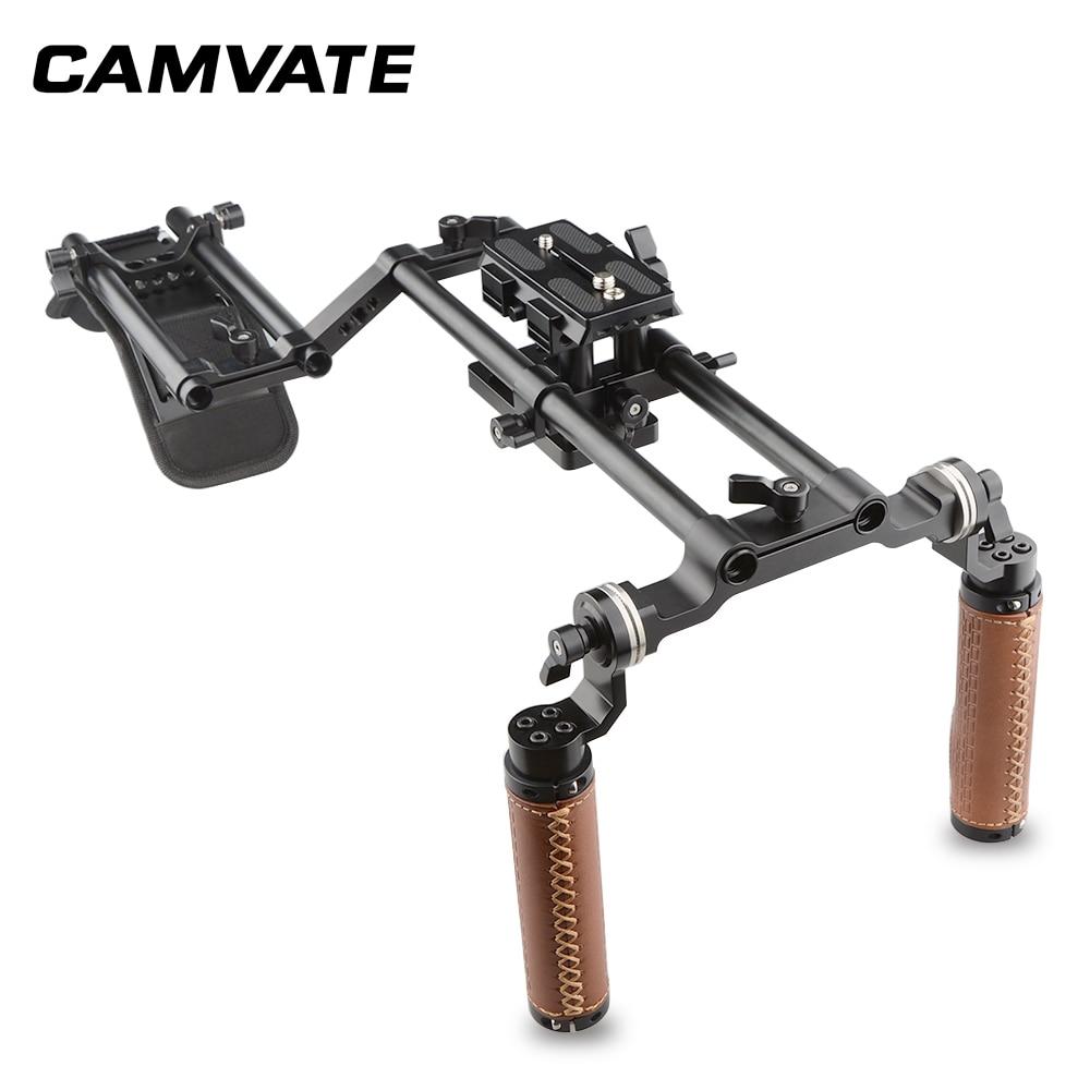Kit de soporte para hombro CAMVATE DSLR, doble agarre, C1769