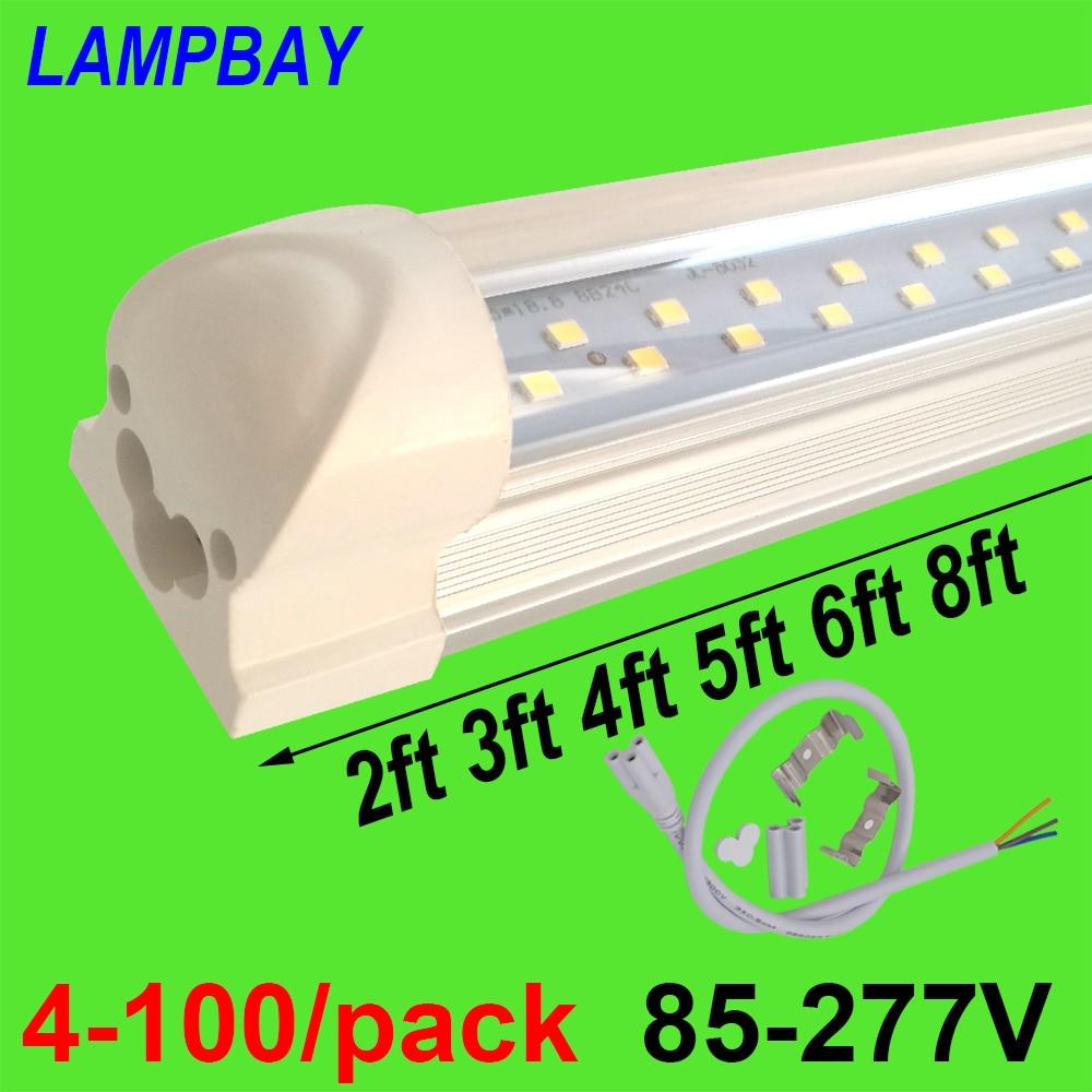 4-100/упаковка светодиодные трубки 2ft 3ft 4ft 5ft 6ft 8ft супер яркая T8 Встроенная лампочка двухрядная лампа