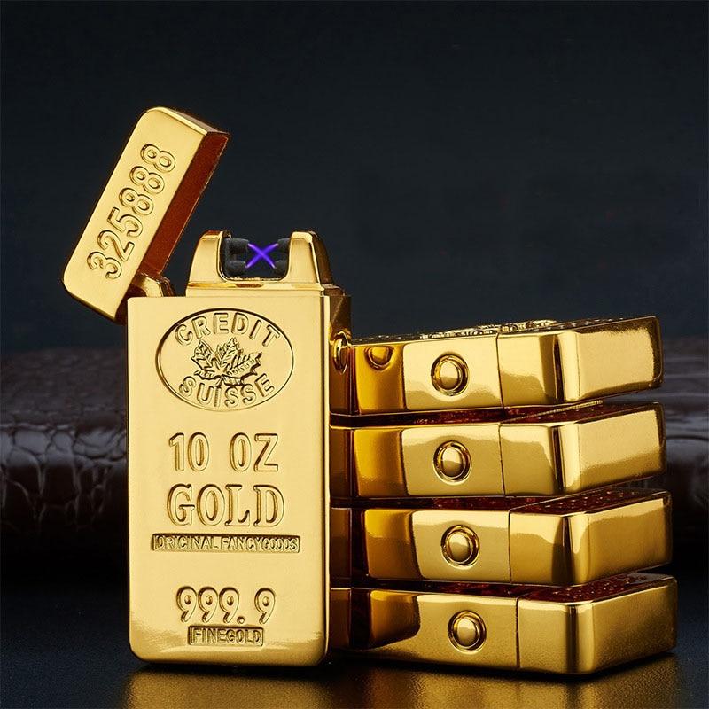 Usb duplo arco mais leve isqueiros isqueiro encendedor aansteker cigarro esqueiro charuto eletrônico aparelhos de metal de ouro para homens