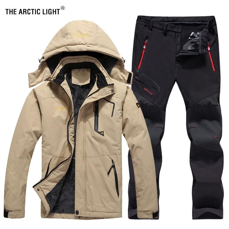 THE ARCTIC LIGHT Men Winter Waterproof Fishing Thermal Pant Jackets Trekking Hiking Camping Skiing Climbing Outdoor Set 6XL Suit