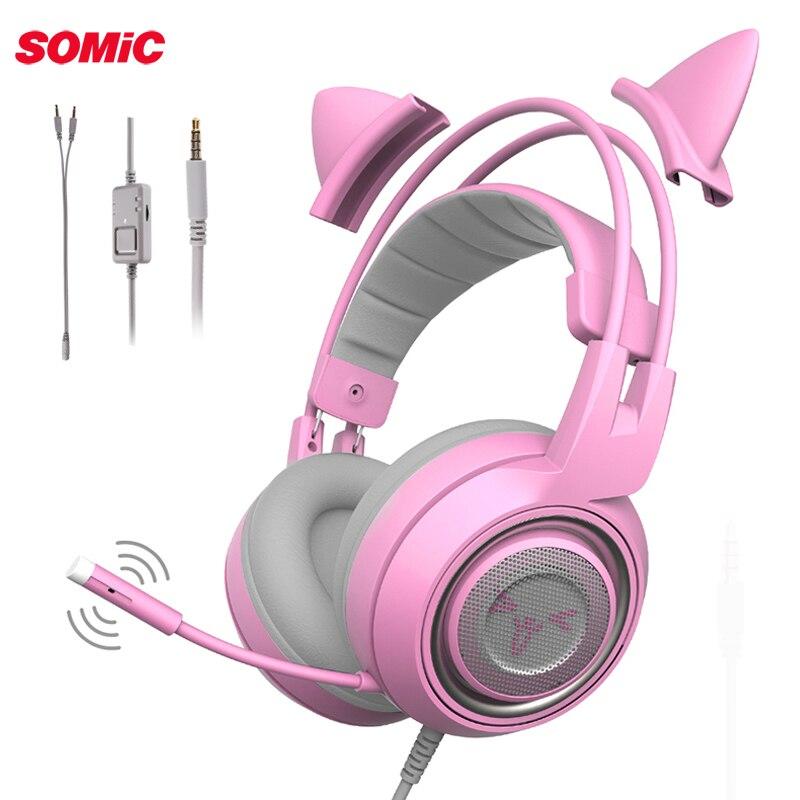 SOMiC G951S auriculares con cable jugador Rosa Oreja de Gato Headste lindo PS4 Xbox PC del teléfono con micrófono 3,5mm Teléfono de juegos PS4 Overear jugador