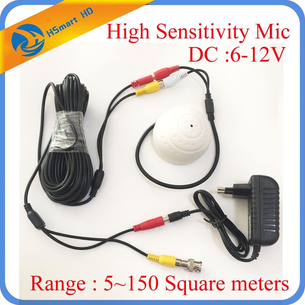 Высокочувствительный микрофон, камера безопасности, 6-12 в пост. Тока, RCA аудио микрофон, мощность постоянного тока, 20 м кабель для домашней безопасности, DVR, система, 12 в пост. Тока