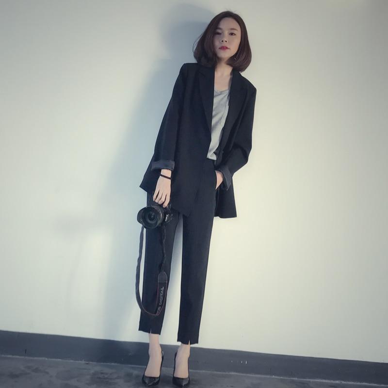 بدلة نسائية بأكمام طويلة ، فضفاضة ، متوسطة الطول ، ملابس ترفيهية ، مجموعة جديدة ، خريف وشتاء 2020