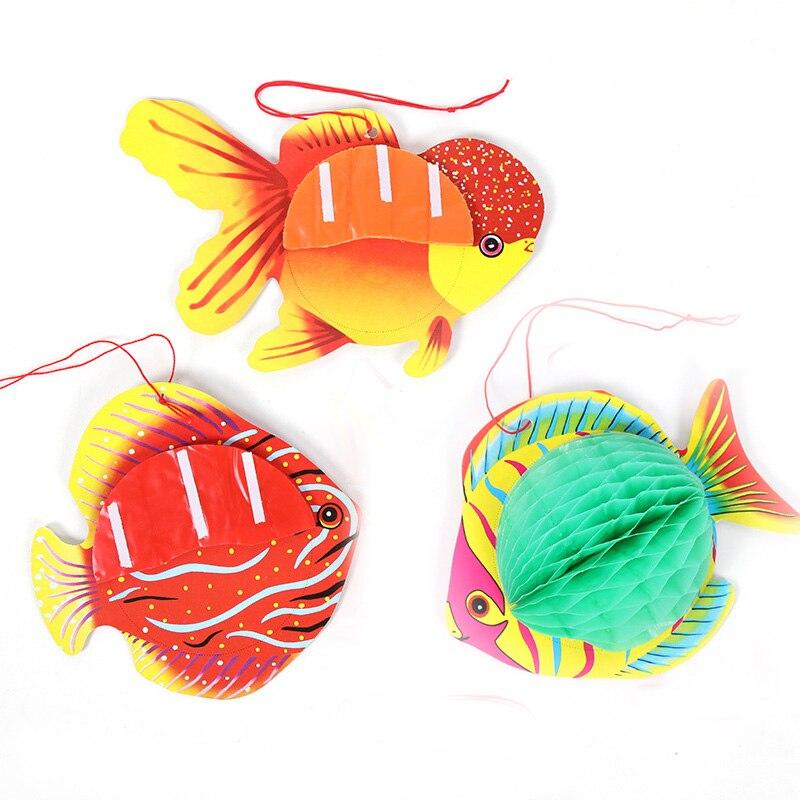 Bola de nido de abeja Animal decorativo en forma de pez, fiesta de cumpleaños, vestido de boda, verano, playa, aire libre 1 Uds