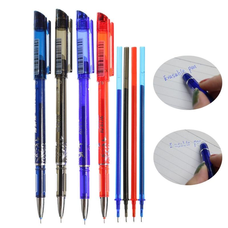 Recargas reescribibles, 20 conjuntos/juego de bolígrafos de Gel para oficina, bolígrafo azul mágico borrable de 0,5mm/tinta negra, papelería de aprendizaje, herramientas de escritura