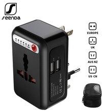 SeenDa adaptador de viaje internacional adaptador de corriente Universal cargador de sincronización inteligente 2 USB cargador de pared mundial para UK/EU/AU/Asia