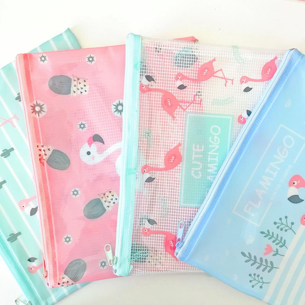 Unicorn PVC Clear Flamingos Pen Pencil Bag Stationery Storage Case Box School Office Supply Student Gift