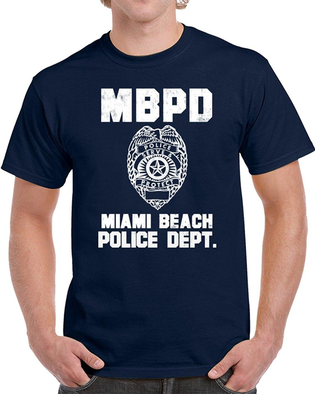 2019 verano moda manga corta 100% algodón Miami Beach Departamento de Policía Dept Mbpd oficial inspirado ciudad personalizada camisetas