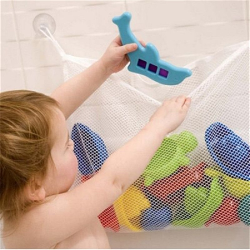 Práctica bolsa de tela colgante para baño de bebé, bolsa de juguetes de baño para bebés, bolsa de juguetes para niños, bolsas de juguete para coleccionar, cestas de succión de red