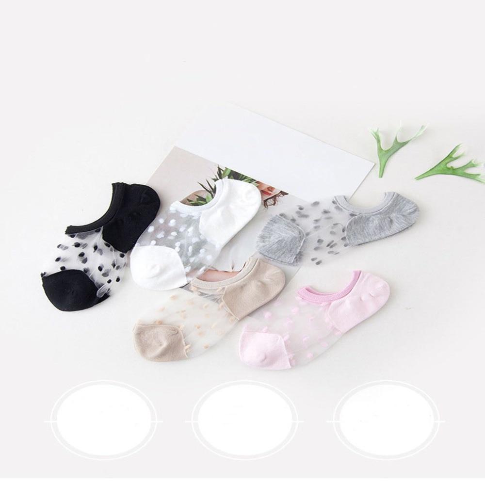 5 Pair/Pack Elegant Women Girls Cotton Comfortable Solid Dot Spring Summer Wear Low Ankle Invisible Elastic Short Socks Sokken