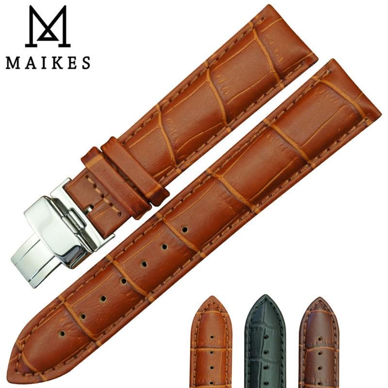 MAIKES, superventas, correa de reloj de Piel De Becerro genuina, 16mm, 18mm, 20mm, 22mm, 24mm, diseño de mariposa, hebilla de cierre desplegable