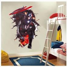 Beaux Avengers à travers des autocollants muraux pour les chambres denfants chambre bricolage stickers dart mural 3d Captain America défoncé affiches décoratives