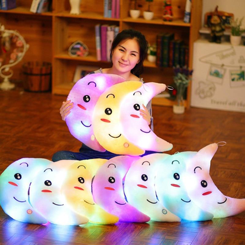 SAILEROAD Glow In The Dark Toys kids Luminous Moon Soft Stuffed Plush Cotton Pillow Toy Led Light Glowing Pillow Child Gift Toys