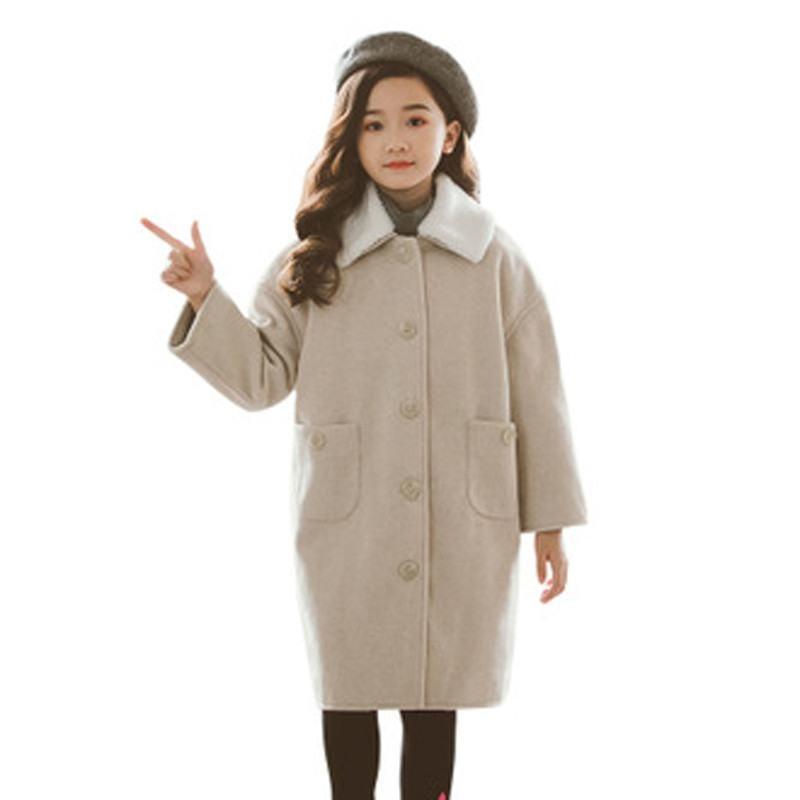 2019 nuevo Otoño Invierno niños niñas lana abrigo de mezclas niños niñas abrigos calientes sólidos Niñas Ropa de lana L375