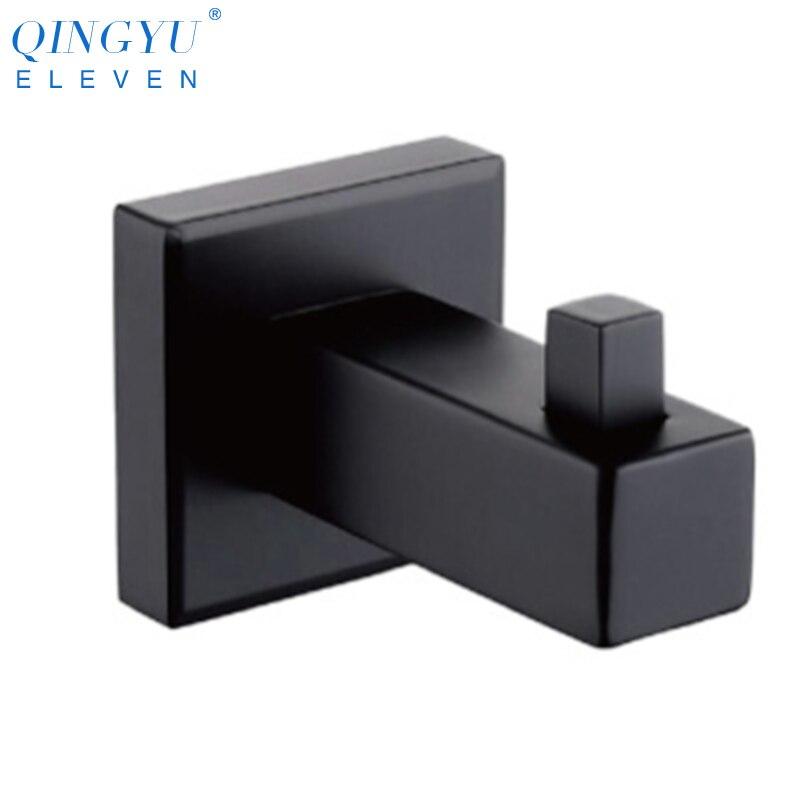 Qinglyu ELVEN 304 de acero inoxidable montado en la pared gancho negro gancho estante gancho de ropa de abrigo de toalla