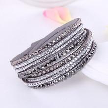 Женский кожаный браслет, многослойный браслет с кристаллами из горного хрусталя, 2016