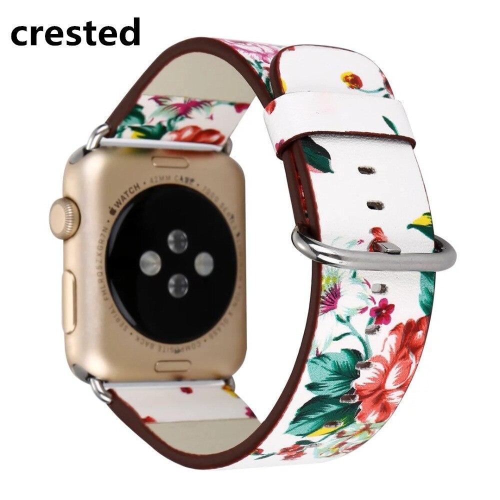 Кожаный ремешок с цветочным принтом для Apple Watch band apple watch 5 4 3 band 42 мм/38 мм 44 мм/40 мм correa iwatch band ремешок для часов