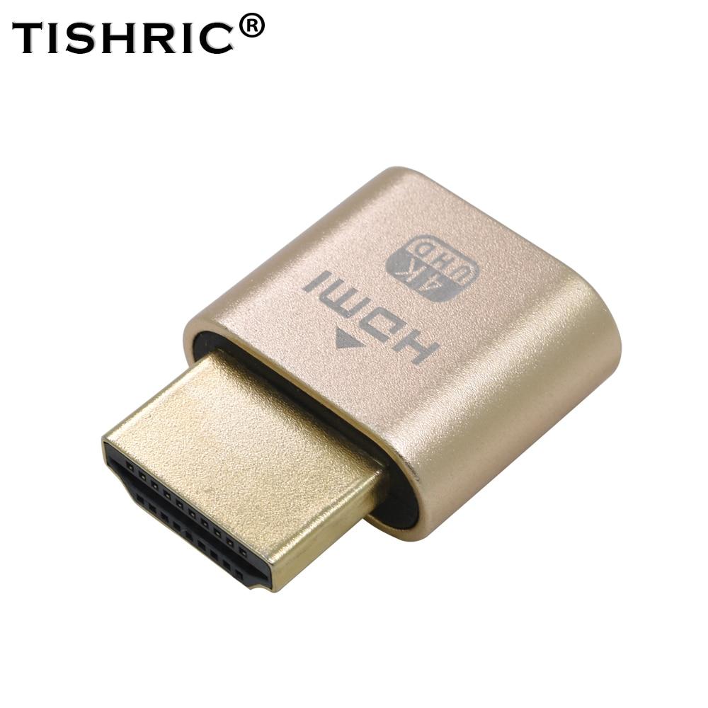 TISHRIC 10 Uds HDMI, dorado VGA Dummy Plug Virtual pantalla emulador adaptador DDC Edid apoyo 1920x1080P tarjeta de vídeo BTC minero