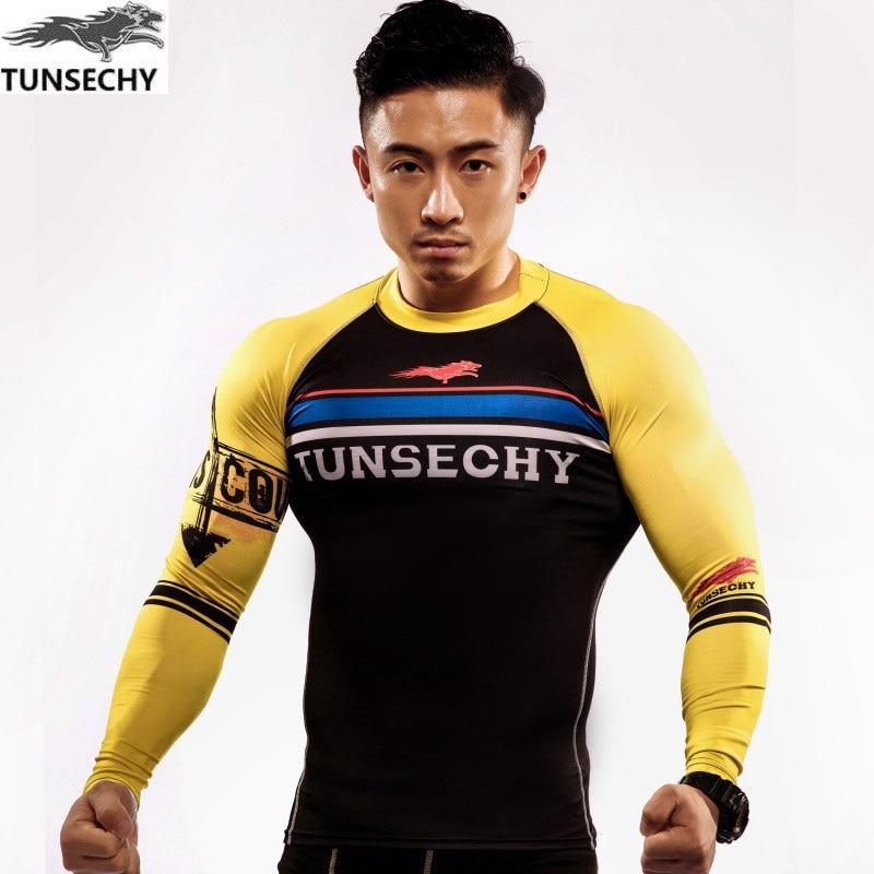 Camisetas de compresión TUNSECHY de manga larga con cuello redondo para hombre, camisetas ajustadas de piel con capa Base, camisetas de secado rápido para hombre, XS-4XL