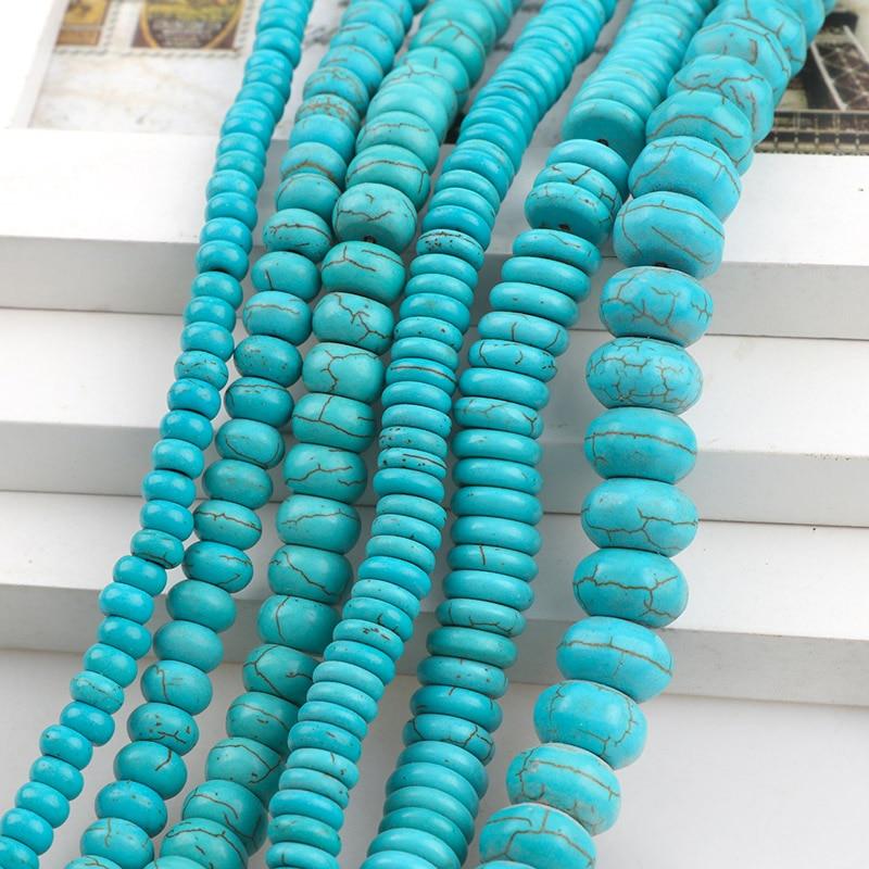 ManmadeStone Sky, turquesas azules, howlita, abalorios de ábaco espaciador suelto, piedras de semillas, pulseras DIY con cuentas, collar, hallazgos de joyería