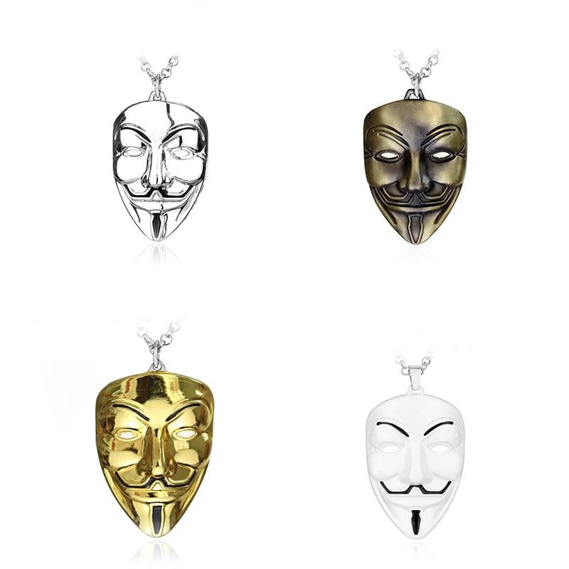 Filme v para vendetta colar anônimo máscara 4 cores metal pendente exagerada hacker máscara na moda jóias para homens cosplay